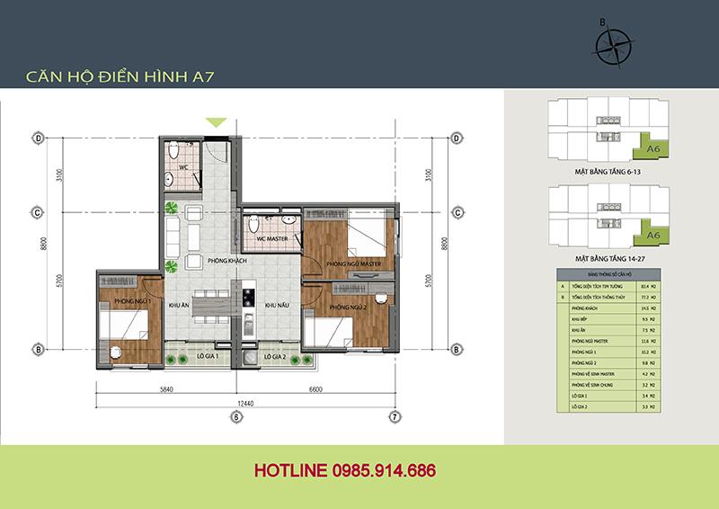 Căn gócsố 14 - căn hộ A7chung cư 89 Thịnh Liệt