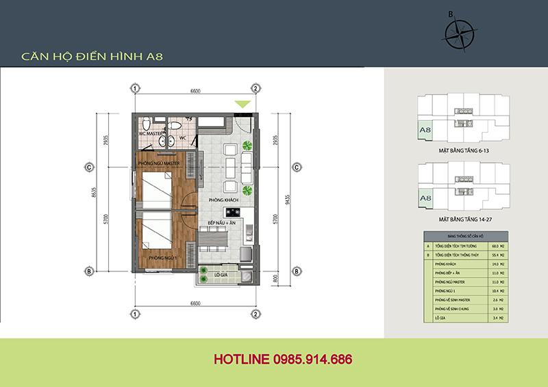 Mẫu thiết kế căn A6 chung cư 89 Thịnh Liệt