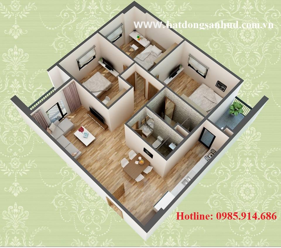 Thiết kế căn hộ A chung cư HUD3 Nguyễn Đức Cảnh