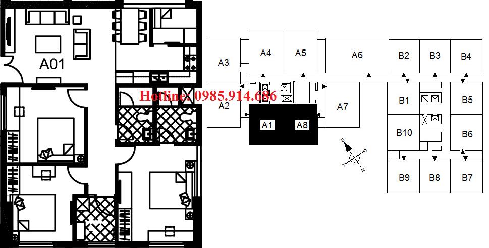 Căn A1, A8 chung cư 122 Vĩnh Tuy
