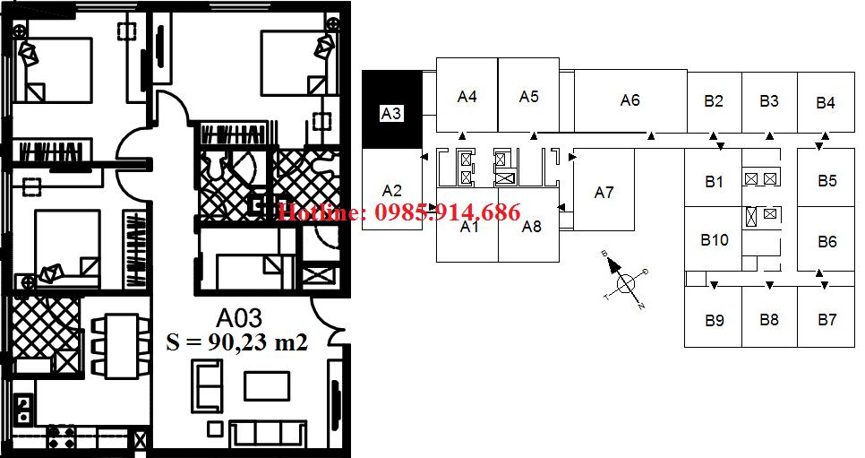 Căn A3 chung cư 122 Vĩnh Tuy