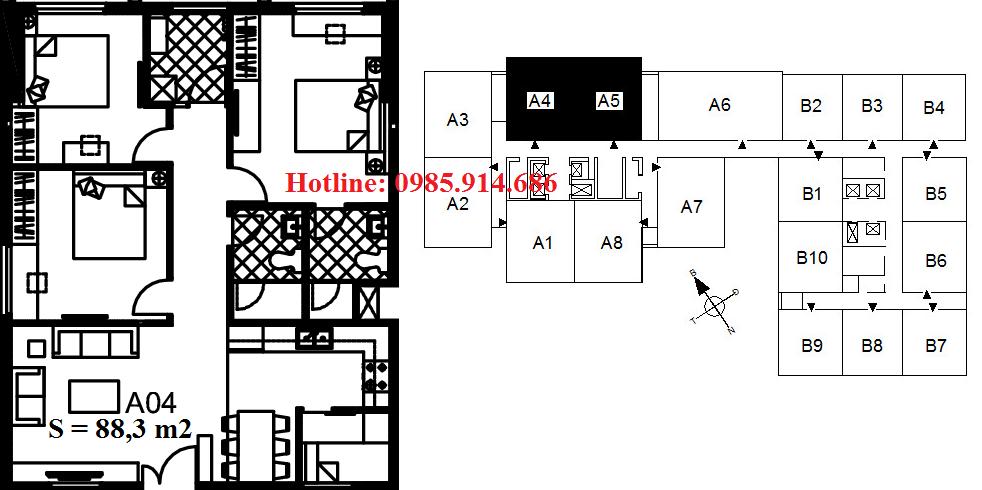 Căn A5, A4 chung cư 122 Vĩnh Tuy