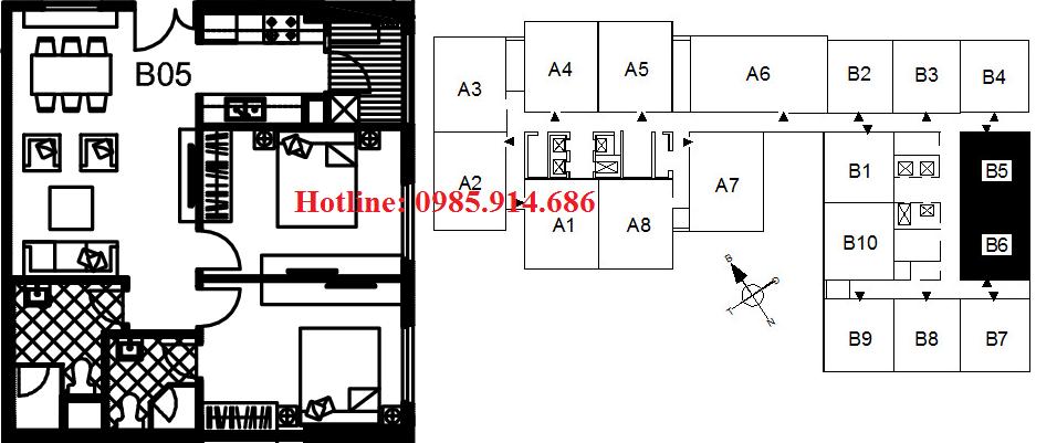 Căn B6 B5 chung cư 122 Vĩnh Tuy