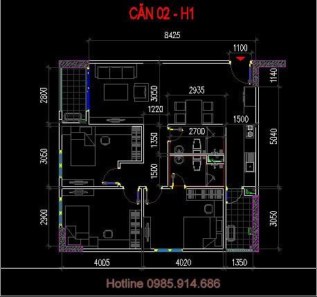 căn số 2 tòa h1 chung cư 60 nguyễn đức cảnh
