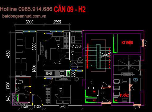 Căn 09 tòa H2 chung cư Hud3 Nguyễn Đức Cảnh