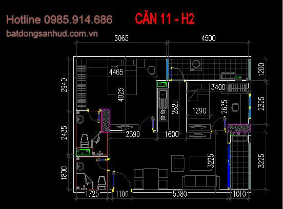 Mặt bằng thiết kế căn số 11 tòa H2 chung cư Hud3 Nguyễn Đức Cảnh 1