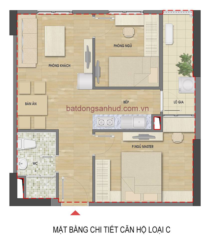 căn hộ 2 phòng ngủ ban công hướng Nam chung cư số 60 Nguyễn Đức Cảnh