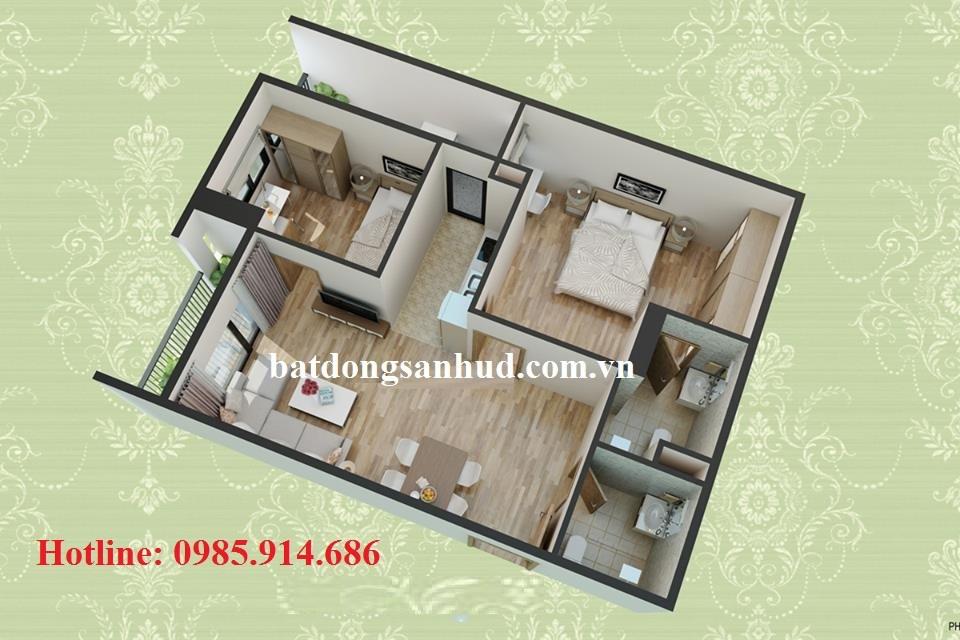 thiết kế căn 70.14m2 hud3 nguyen duc canh