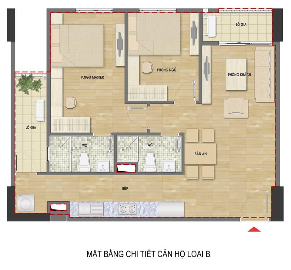 Căn hộ 2 phòng ngủ ban công hướng Bắc chung cư Hud3 Nguyễn Đức Cảnh