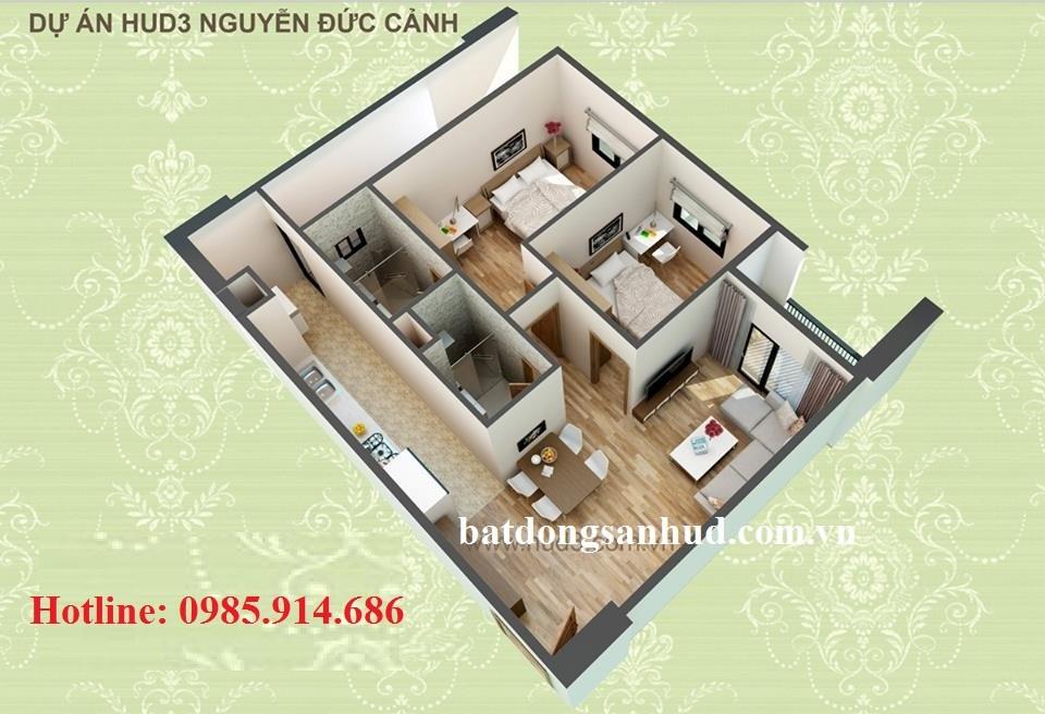 căn hộ 72.6m2 hud3 nguyen duc canh