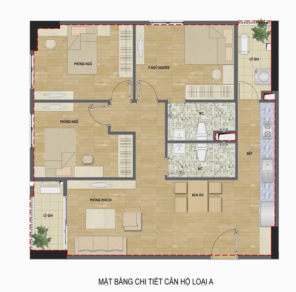 căn hộ 3 phòng ngủ ban công hướng Đông