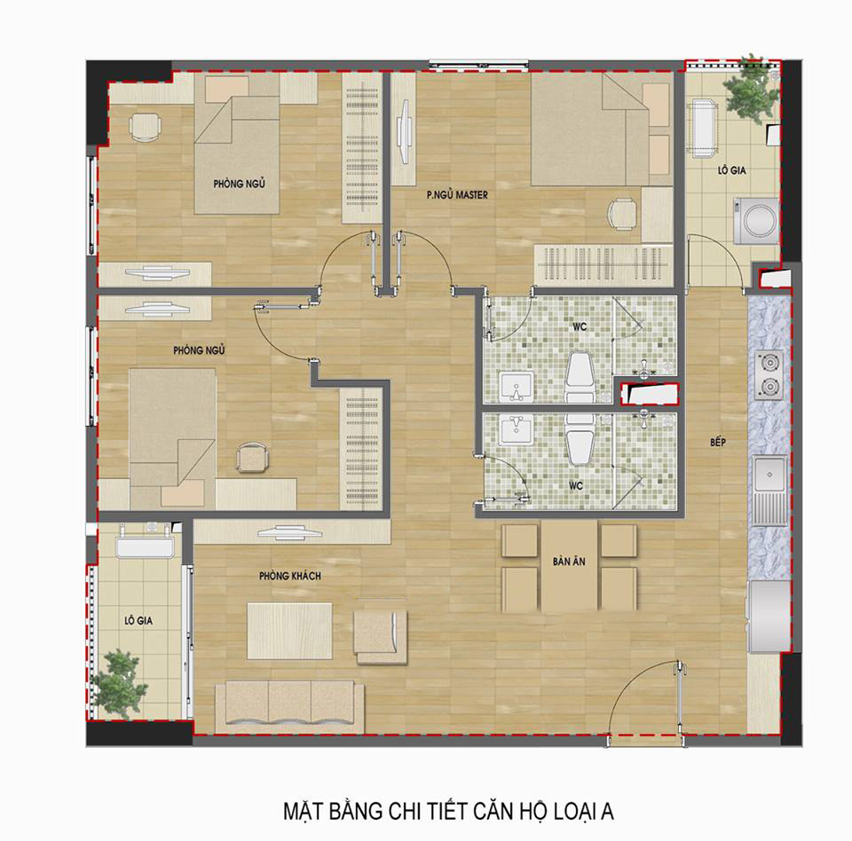 Căn hộ 3 phòng ngủ có cửa vào hướng Nam hud3 ndc
