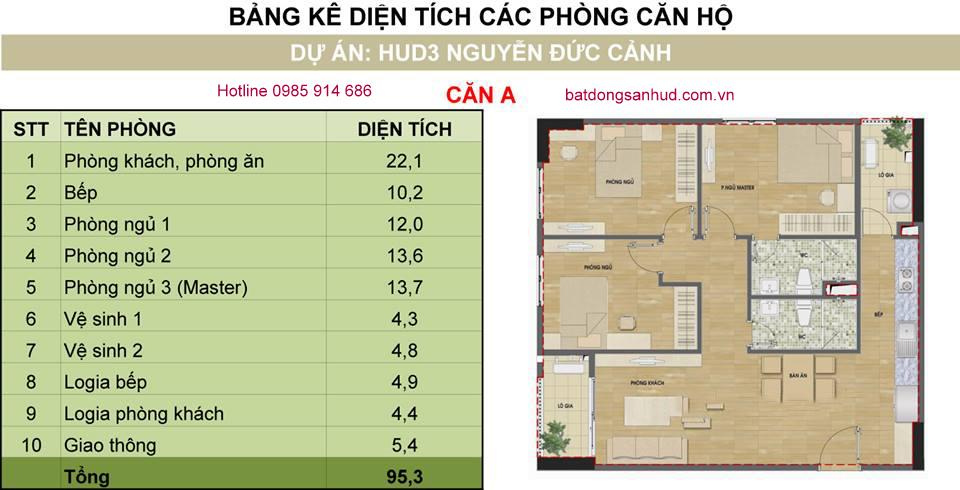 Căn 07 tòa H2 chung cư Hud3 Nguyễn Đức Cảnh