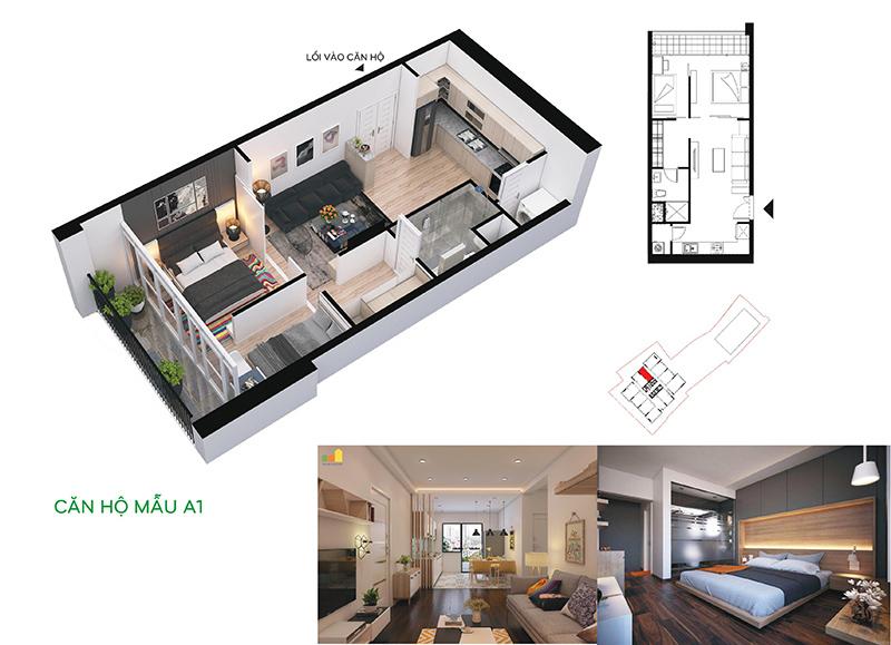 Căn 2 phòng ngủ nhỏ nhất chung cư 110 Cầu Giấy
