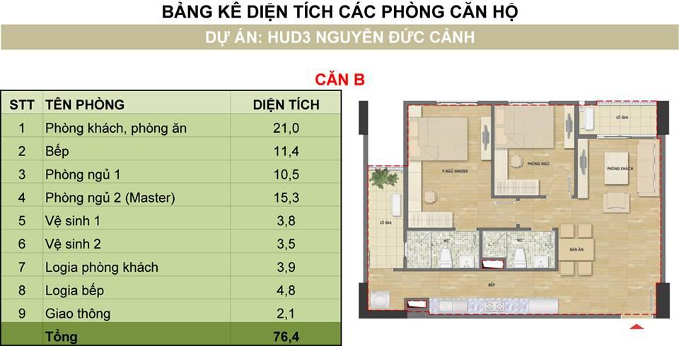 Căn 2 phòng ngủ cửa vào hướng Bắc tòa H2 HUD3 Nguyễn Đức Cảnh