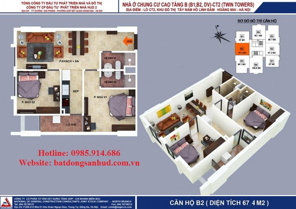 Căn hai phòng ngủ chung cư b1b2 Tây nam Linh đàm