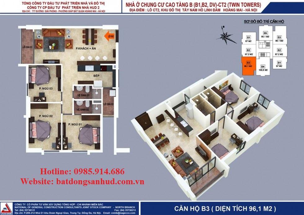 Căn 96.15m2 chung cư B1B2 Tây Nam Linh Đàm