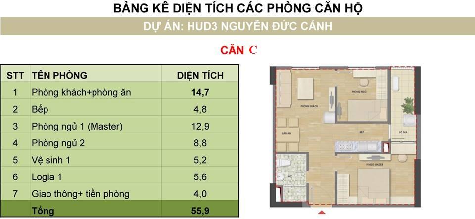 Căn loại C chung cư Hud3 Nguyễn Đức Cảnh