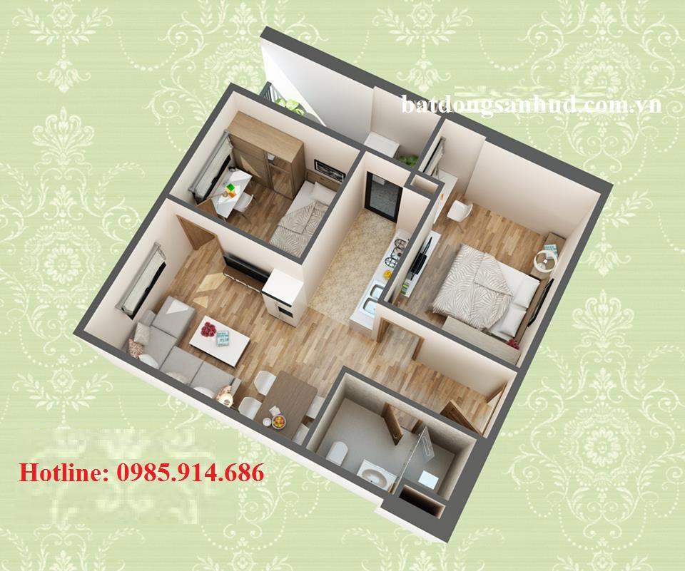 Thiết kế căn hộ C chung cư HUD3 Nguyễn Đức Cảnh