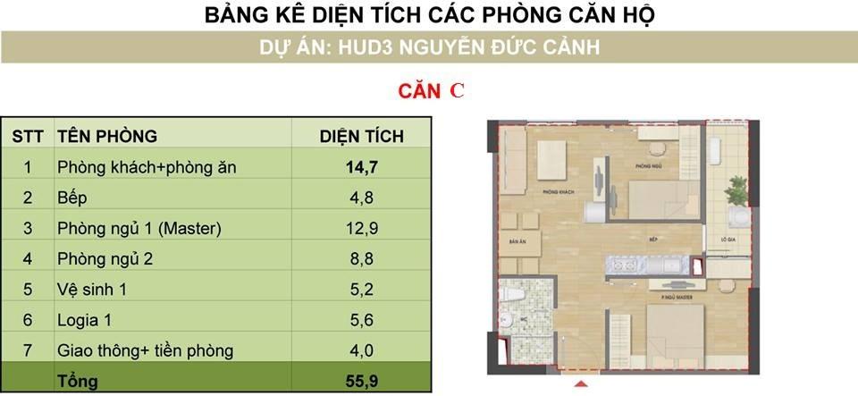 căn số 1 tòa h2 chung cư hud3 nguyễn đức cảnh