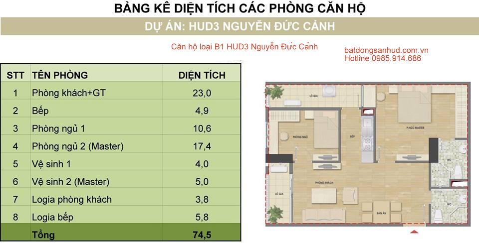 Căn 2 phòng ngủ cửa vào hướng Bắc tòa H1 HUD3 Nguyễn Đức Cảnh