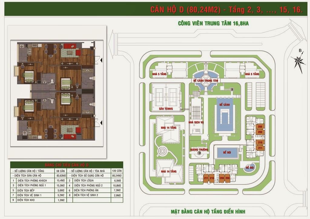 Bán căn 2 phòng ngủ (S=80.24m2) chung cư Green House Việt Hưng - Long Biên Hà Nội 1