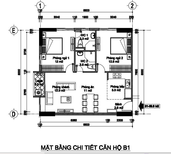 Bán căn góc số 10 tòa B2 (S= 67m2) chung cư B1B2 Tây Nam Linh Đàm 1