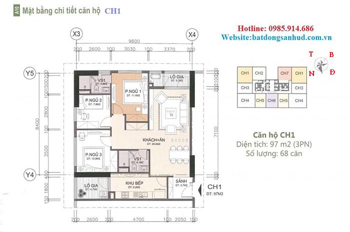Căn hộ 97 m2 chung cư A10 Nam Trung Yên
