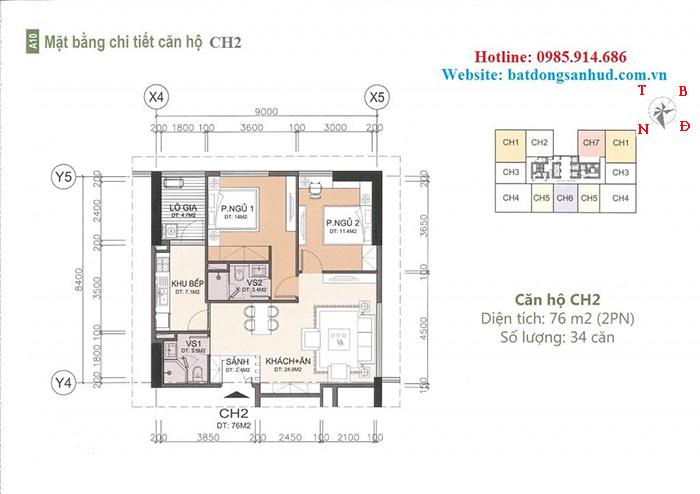 căn hộ 76m2 chung cư A10 Nam Trung Yên
