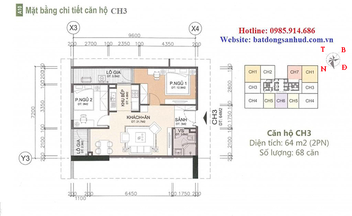 Căn hộ diện tích 64 m2 chung cư A10 Nam Trung Yên