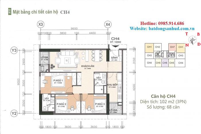 Căn hộ 102 m2 chung cư A10 Nam Trung Yên