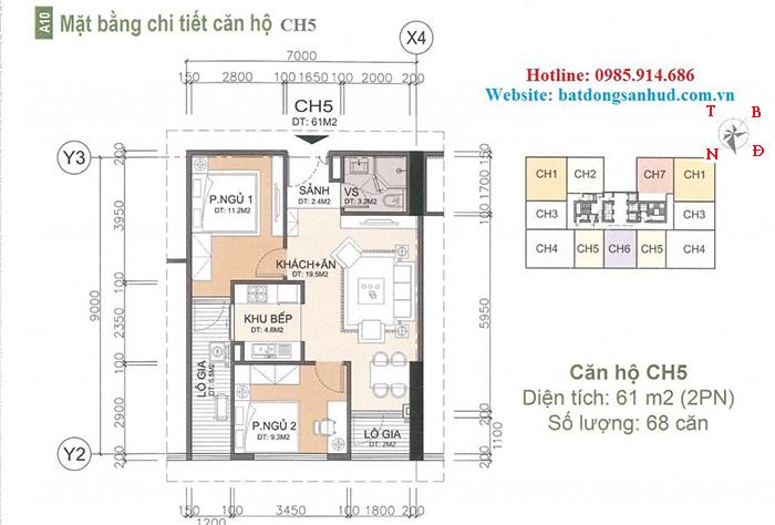 căn hộ 61 m2 chung cư A10 Nam Trung Yên