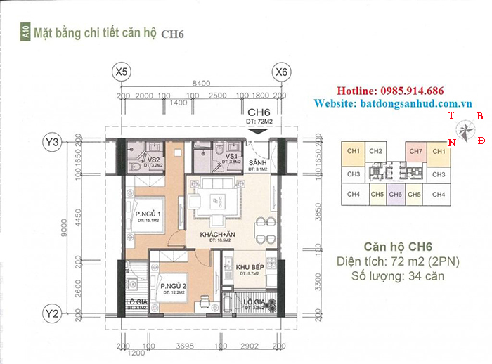 căn hộ diện tích 72m2 chung cư A10 Nam Trung Yên