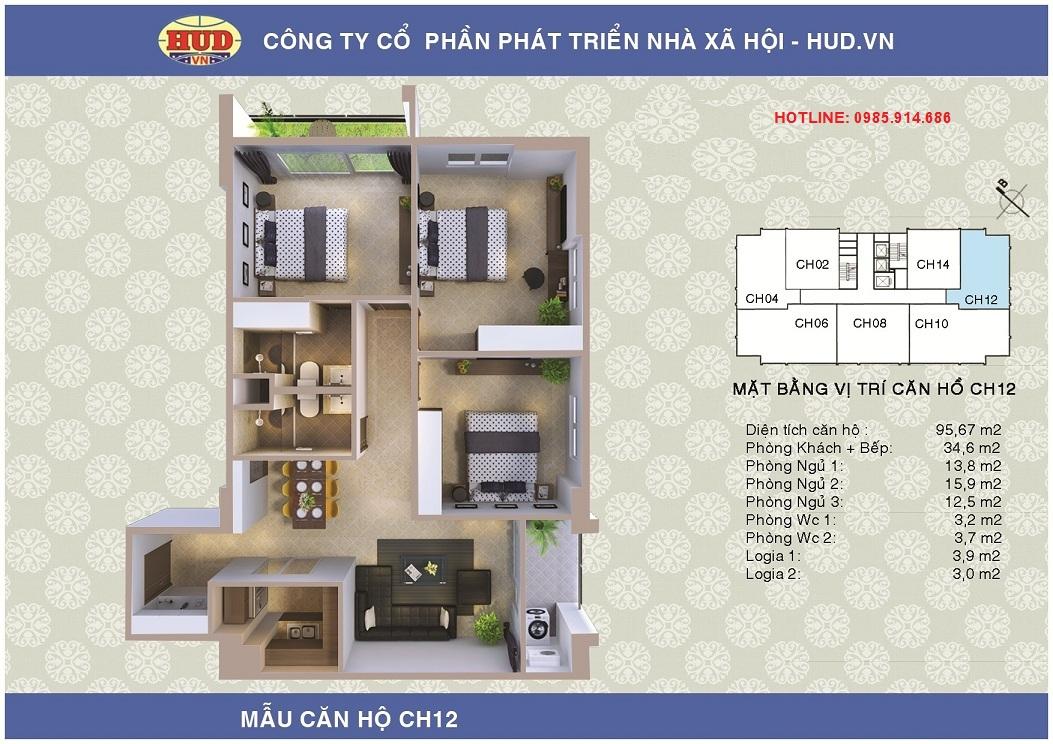 Bán căn góc 3 phòng ngủ số 12 (S=95.67m2) chung cư A1CT2 Tây Nam Linh Đàm. 1