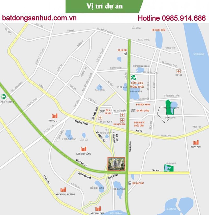 map chung cư 176 Định Công