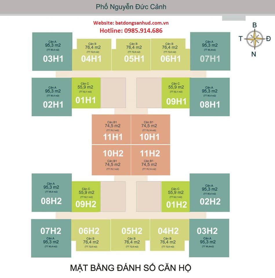 Mặt bằng căn 08 tòa h1 chung cư Hud3 Nguyễn Đức Cảnh