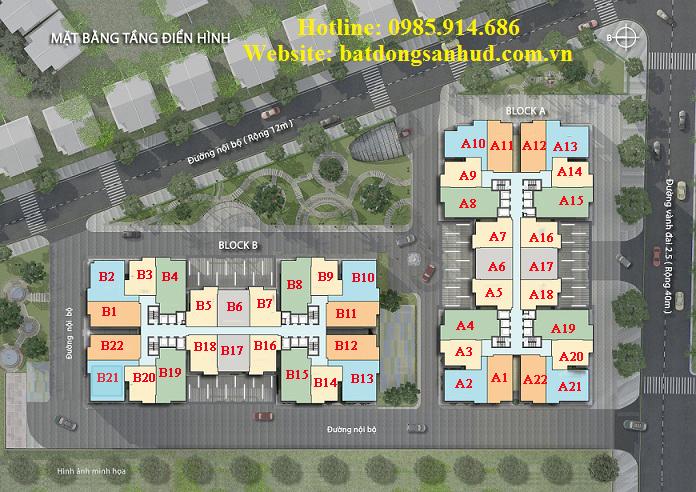 Mặt bằng điển hình căn hộ 176 Định Công