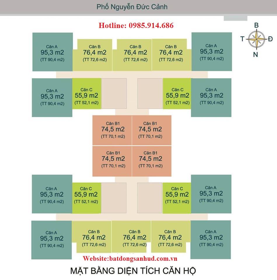 Mặt bằng diện tích căn hộ chung cư HUD3 Nguyễn Đức Cảnh
