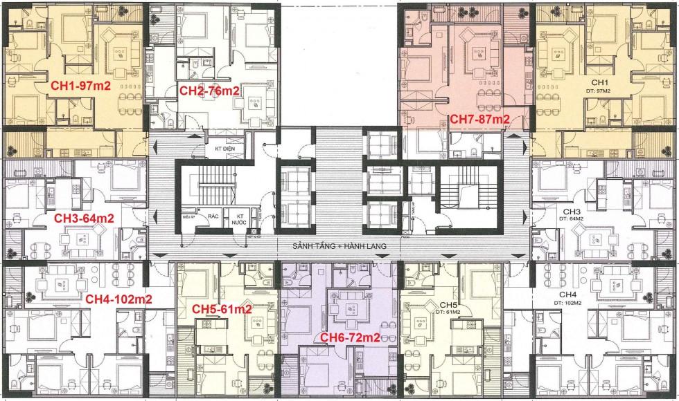 Các loại diện tích căn hộ chung cư A10 Nam Trung Yên
