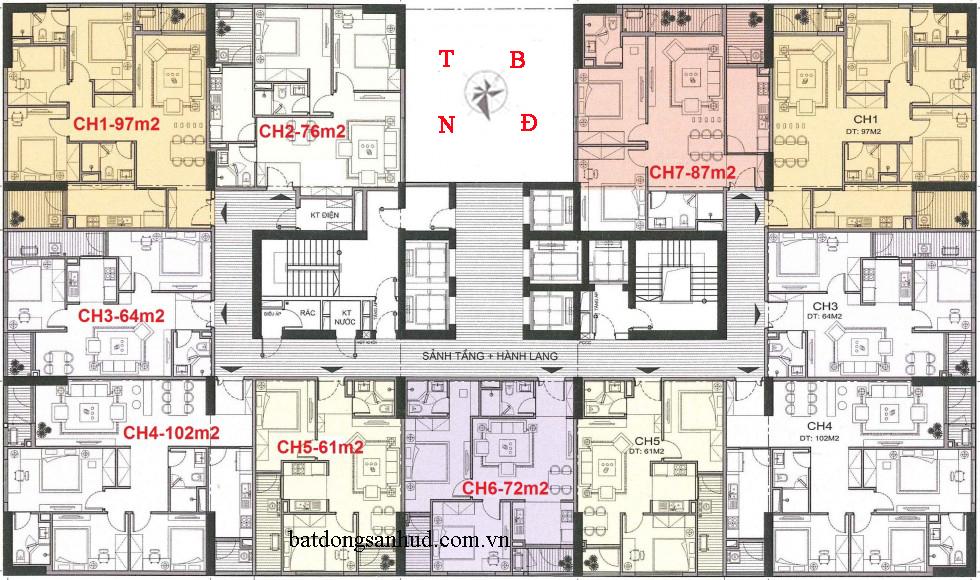Mặt bằng căn hộ A10 Nam Trung Yên