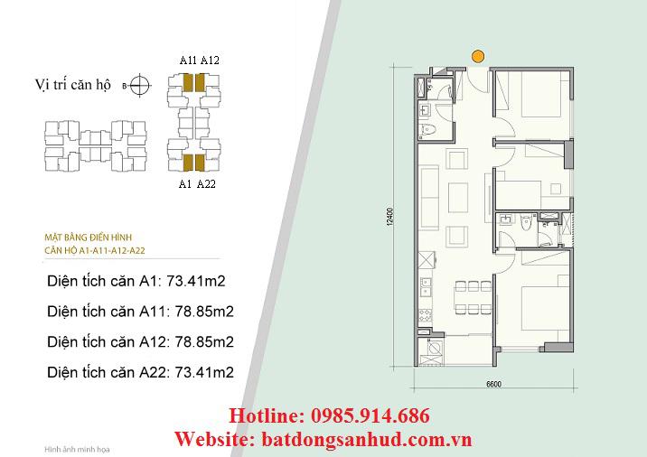 Căn A1, A22 chung cư 176 Định Công