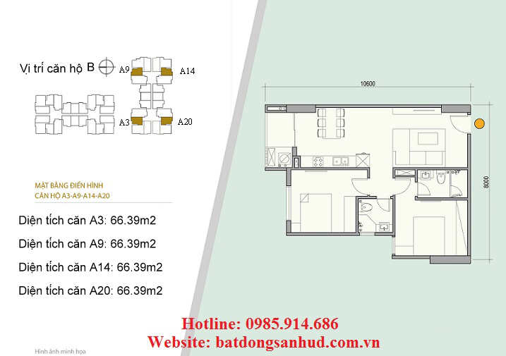 căn hộ A3 chung cư 176 Định Công