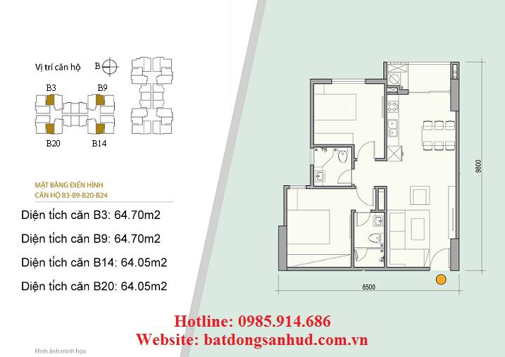 Căn B3, B9 chung cư 176 Định Công
