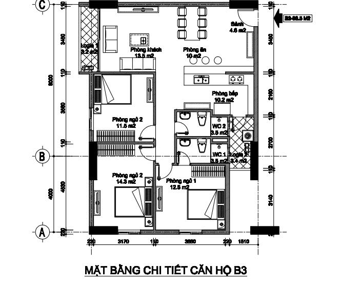 Bán căn góc 3 phòng ngủ số 06 (S=96.15m2) tòa B2CT2 chung cư B1B2 Tây Nam Linh Đàm. 1