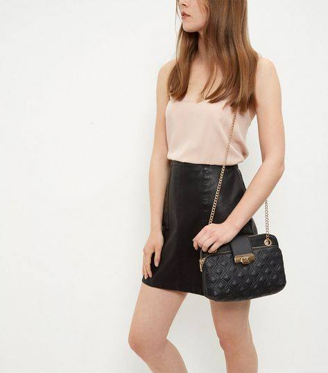BLACK QUILTED SHOULDER BAG NEW LOOK