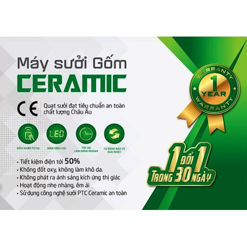 Máy sưởi gốm Ceramic Erito HCB141R-NV