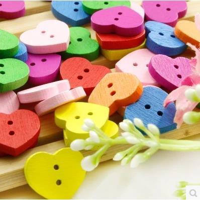 Túi cúc gỗ tim sắc màu (14 cúc)_CH18