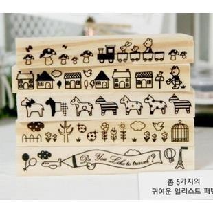 Con dấu gỗ viền Koreo ( Mua 2 dấu tặng kèm mưc)_CD40