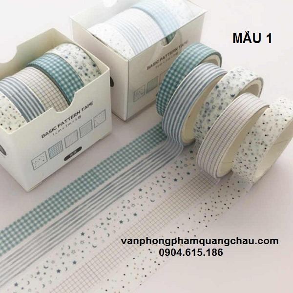 Băng dính washi họa tiết 5 cuộn_S200
