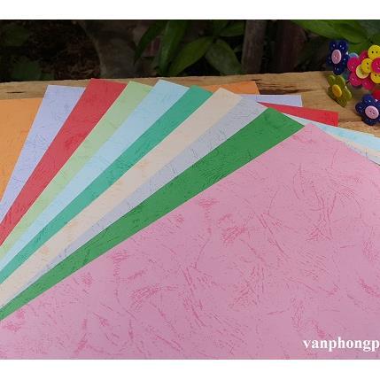 Giấy bìa mỹ thuật Hàn Quốc A4 có vân - 10 màu (120 gsm)_GHM32